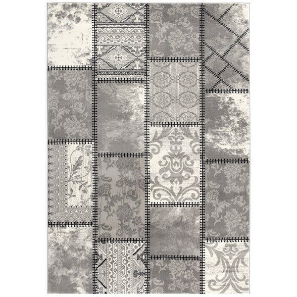 tapis d entree moderne montage de rug branch rectangulaire 2 pi 3 po x 4 pi gris