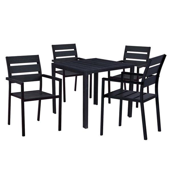 oakland living patio dining set steel 5 piece black