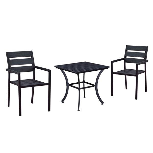 oakland living patio dining set steel 3 piece black