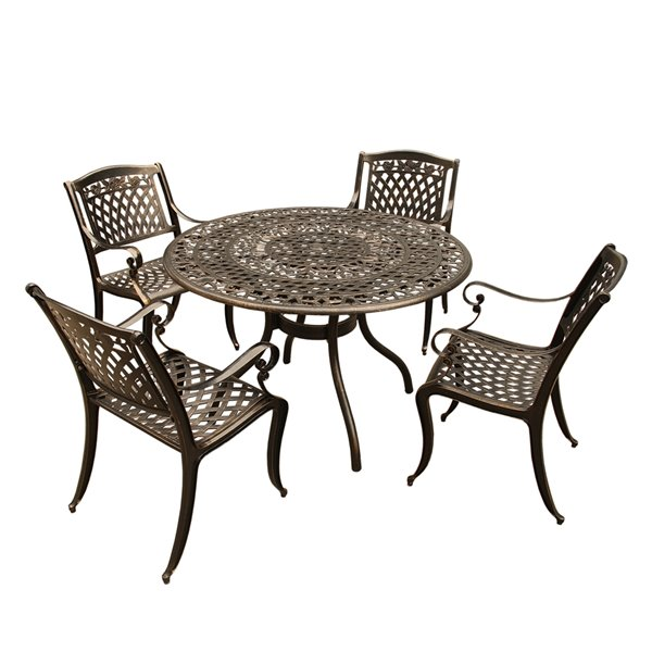 oakland living round patio dining set aluminum 5 piece bronze