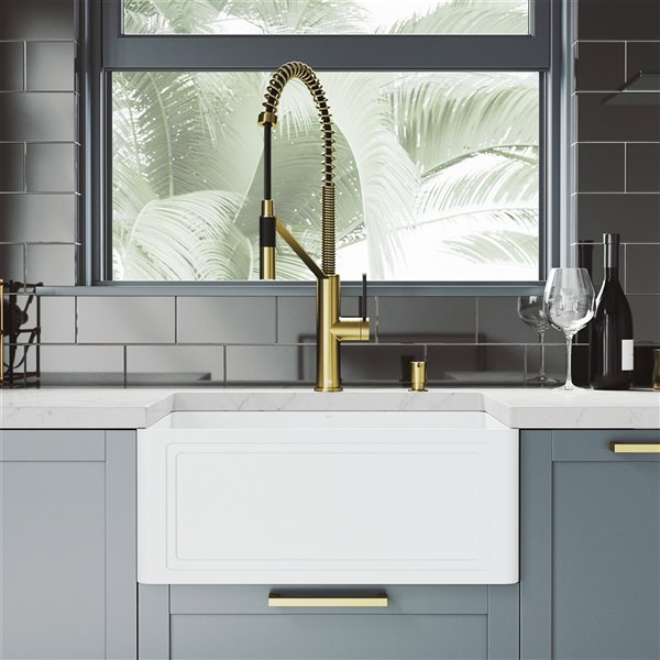 vigo crown matte white kitchen sink with matte gold faucet single bowl 30 in