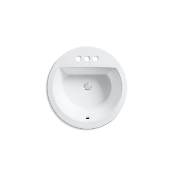 kohler bryant round drop in bathroom sink with single faucet hole white
