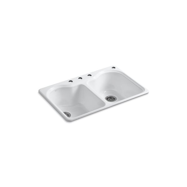kohler hartland top mount utility sink with four faucet holes double bowl white 33 in x 22 po