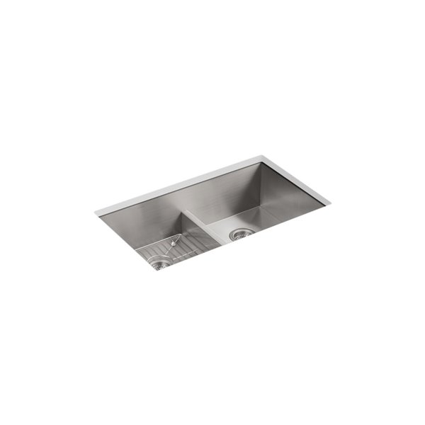 kohler vault smart divide kitchen sink with three faucet holes stainless steel 22 in