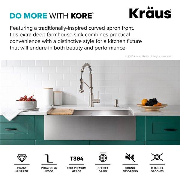 kraus kore workstation apron front farmhouse kitchen sink 29 88 in x 20 24 in
