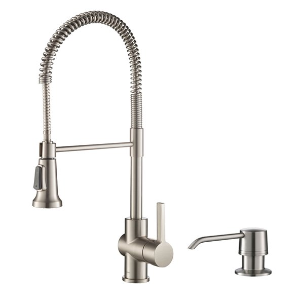 kraus single handle kitchen faucet deck plate and soap dispenser in all brite spot free stainless steel