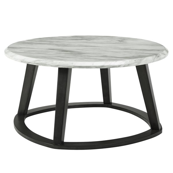 nspire contemporary faux marble round coffee table dark gray 38 in x 38 in x 19 in h