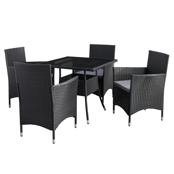 corliving parksville square patio dining set resin wicker rattan black ash grey 5 piece