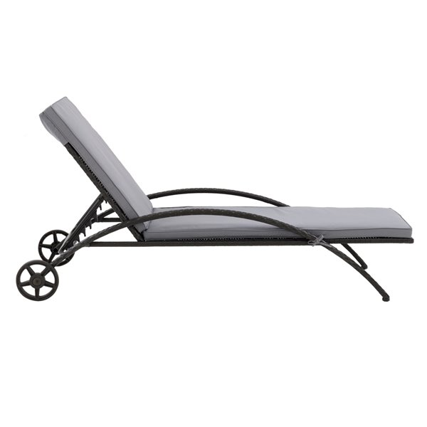 corliving parksville patio lounge chair ash grey cushions black frame