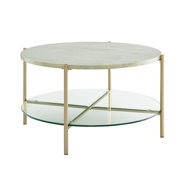 walker edison modern round glass coffee table white