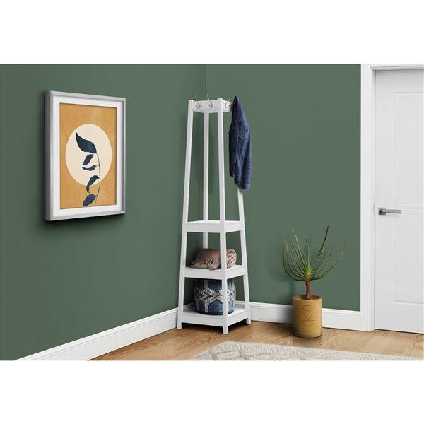 monarch specialties corner coat rack with 3 shelves white 72 in h