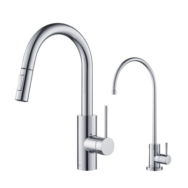 kraus pull down kitchen faucet and purita water filter chrome