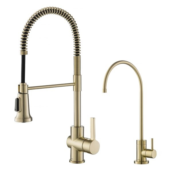 kraus commercial kitchen faucet and water filter brushed gold