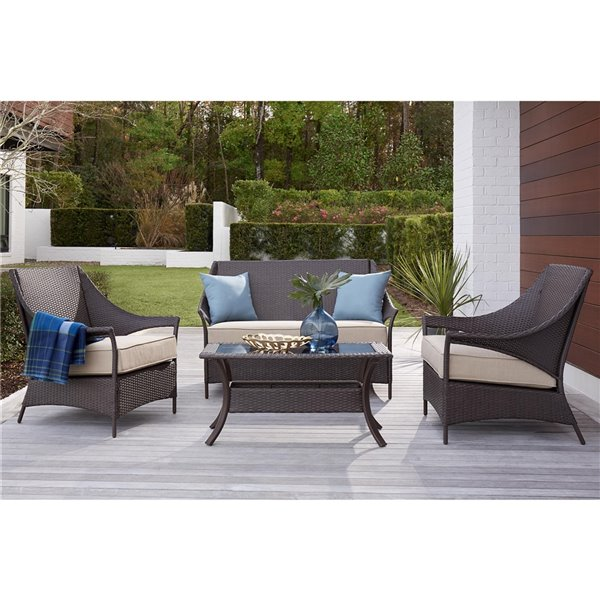 cosco outdoor living lakewood isle loveseat coffee table dark brown