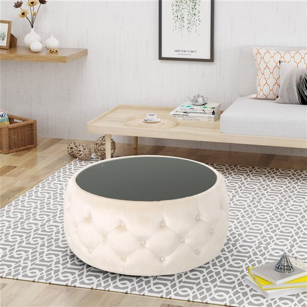 best selling home decor chana glam velvet and tempered glass coffee table square ottoman beige