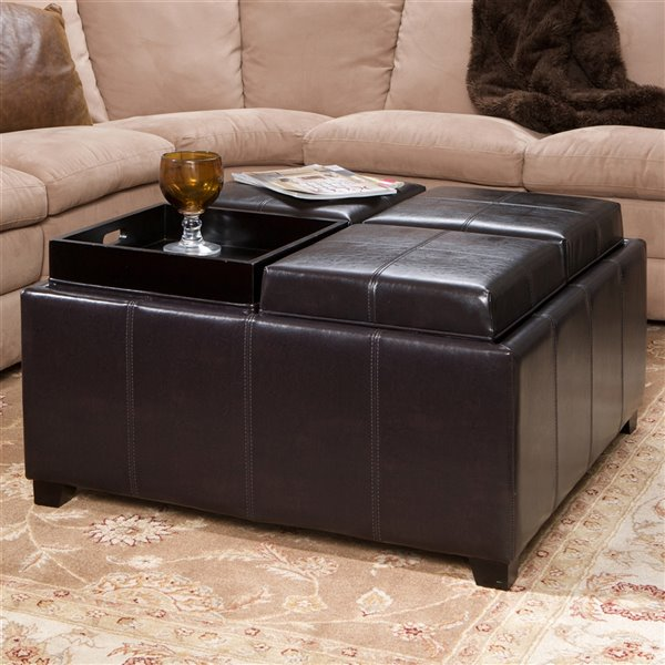 best selling home decor dayton 4 tray top bonded leather square storage ottoman