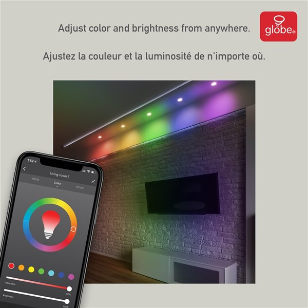 globe electric wi fi smart ultra slim color changing rgb tunable white recessed lighting kit 4 in