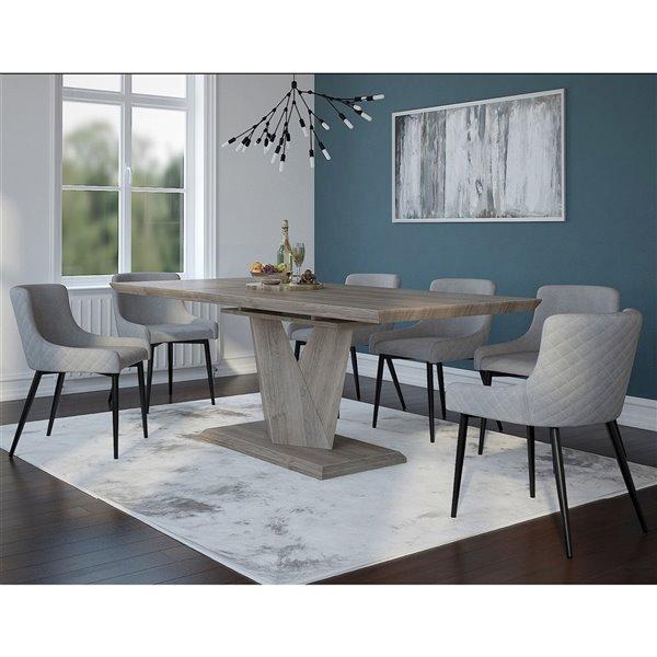 ens de salle a manger moderne rustique avec table en chene de worldwide homefurnishings gris argent 7 morceaux