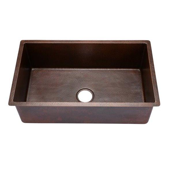 hahn copper undermount kitchen sink single bowl 30 in hammered copper