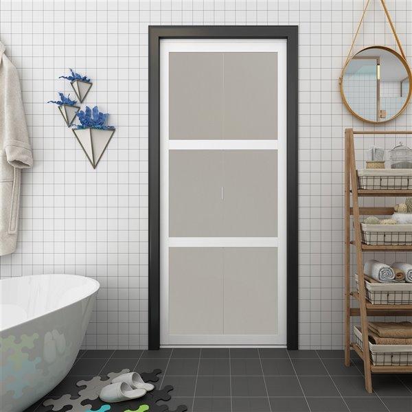 porte pliante en mdf a 3 panneaux colonial elegance et quincaillerie d installation 30 po x 80 po blanc