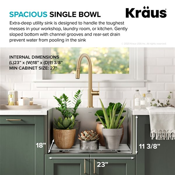 kraus dual mount drop in single bowl laundry sink 25 in stainless steel
