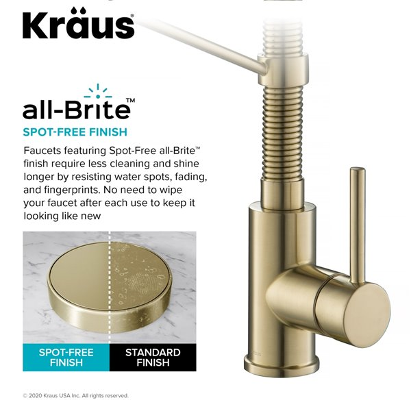 kraus pull down kitchen faucet with filter antique champagne bronze