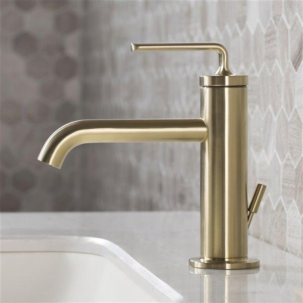 kraus ramus single handle bathroom faucet with drain 2 pack brushed gold