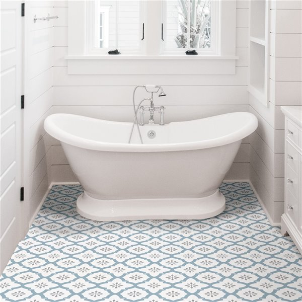floorpops alfama peel and stick vinyl tile 12 in x 12 in white and blue 10 piece