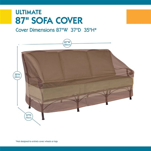 duck covers ultimate patio sofa cover polyester 87 in mocha cappuccino