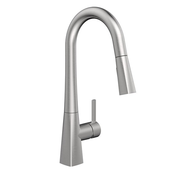 belanger kitchen sink faucet with swivel pull out spout and push button diverter stainless steel