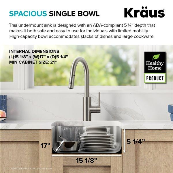 kraus undermount antibacterial single bowl ada sink stainless steel 17 in