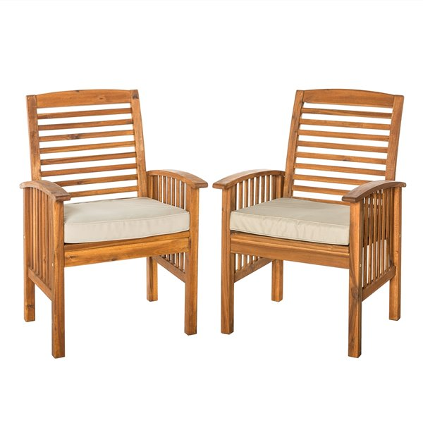 walker edison acacia patio chairs with cushions set of 2 brown