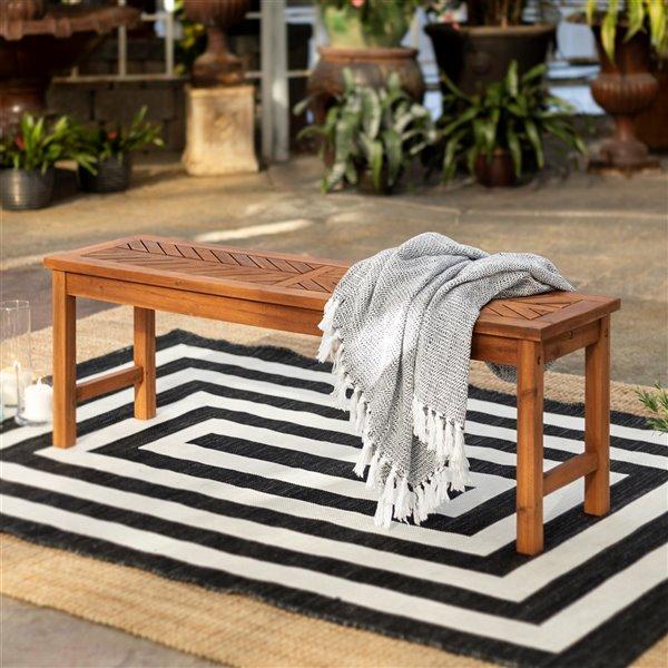 walker edison modern patio dining bench 53 in brown
