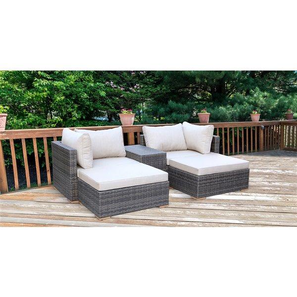 allspace 5 piece metal wicker patio set sunbrella cushion s included