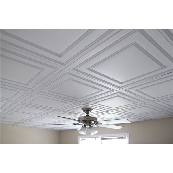 ceilume stratford feather light ceiling tiles 24 in x 24 in white 10 pack