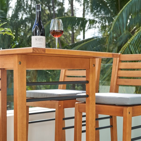 vifah gloucester patio bar table with umbrella hole capacity of 4 rectangle wood brown 46 in x 42 in