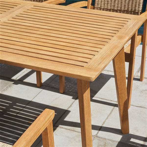 vifah chesapeake patio dining table with umbrella hole capacity of 6 rectangle wood brown 59 in x 30 in