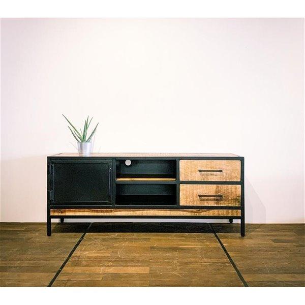 meuble pour television moderne contemporain zen de corcoran a 2 tiroirs 59 po x 24 po bois de manguier