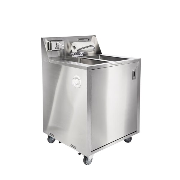 ancaster food equipment 2 basin stainless steel freestanding portable utility sink with drain and faucet 32 in x 29 25 in