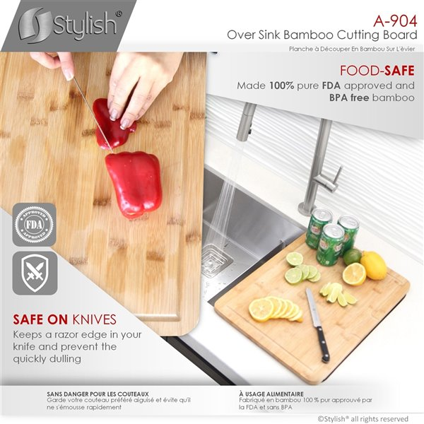 stylish bamboo over the sink cutting board 17 25 in x 12 in