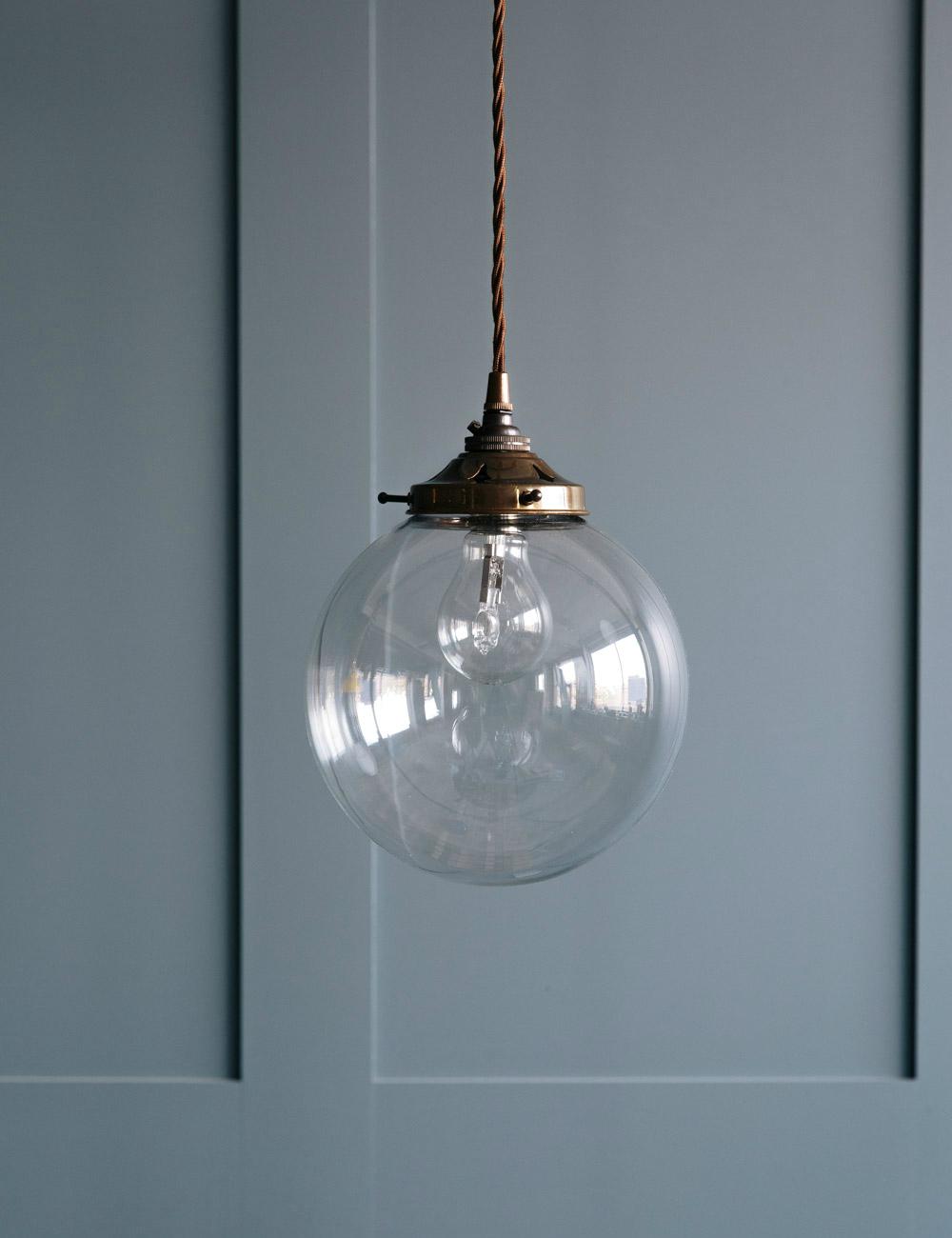 Globe Blown Glass Pendant Light at Rose  Grey