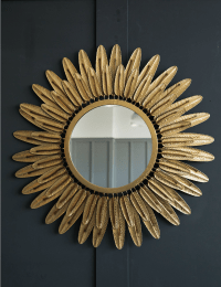 Large Gold Feather Mirror