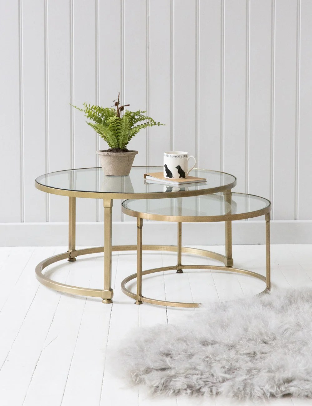 Stacking Round Glass Coffee Table Set
