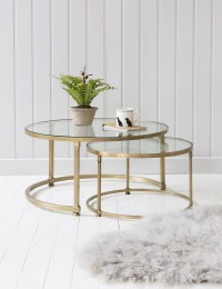 Stacking Round Glass Coffee Table Set | Rose & Grey