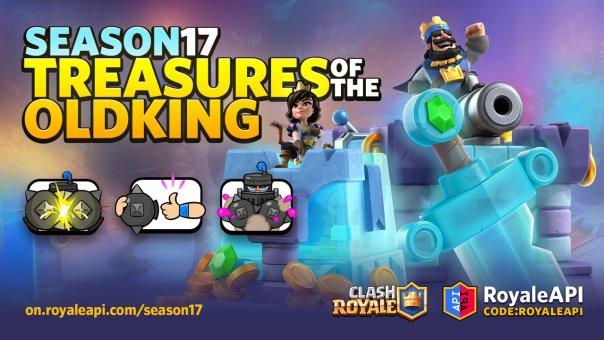 Clash Royale Season 17 Treasures of the Old King - Diseño de torre y gestos de Mega Knight