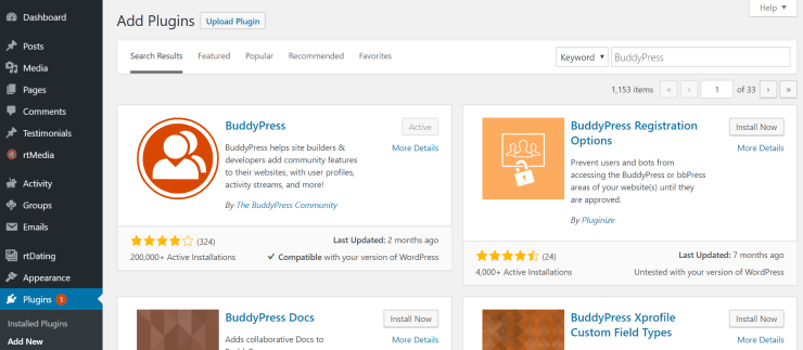 install and activate buddypress