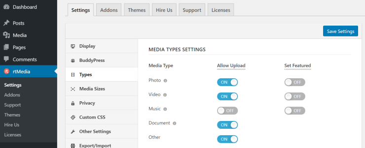 rtmedia allowed media types settings