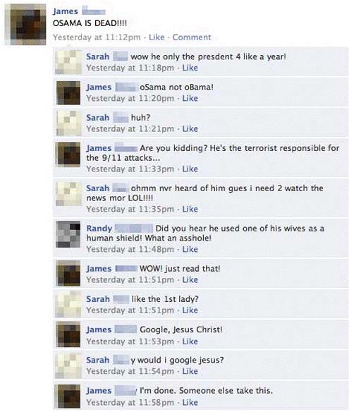 osama vs obama facebook Nine Hilariously Awkward Facebook Interactions