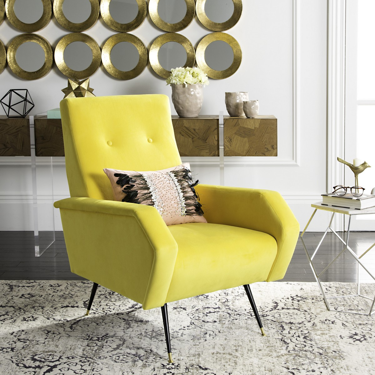 Mustard Accent Chair Fox6258a Accent Chairs Furniture By Safavieh