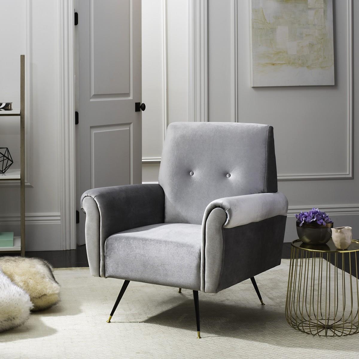 light grey velvet accent chair delta avery nursery glider fox6285b chairs furniture by safavieh